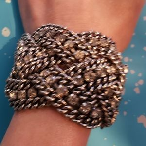Think, braided silver & crystal bracelet